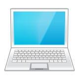 Computer portatile bianco isolato su bianco Fotografie Stock Libere da Diritti