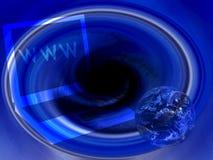 Computer portatile blu del Internet del globo Fotografie Stock