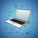 Computer portatile brillante con gli elementi infographic Fotografia Stock Libera da Diritti