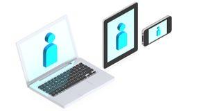 Computer portatile, calcolatore del ridurre in pani e telefono mobile Immagine Stock Libera da Diritti