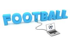 Computer portatile collegato a gioco del calcio Fotografia Stock Libera da Diritti