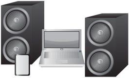 Computer portatile, compressa ed altoparlanti Immagine Stock Libera da Diritti