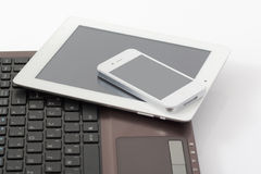 Computer portatile, compressa & Smart Phone Fotografia Stock
