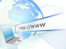 Computer portatile con collegamento a Internet Immagini Stock