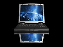 Computer portatile con goccia dell'acqua Fotografia Stock