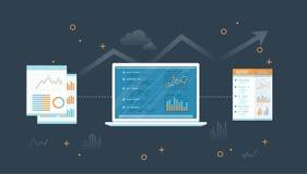 Computer portatile con i documenti ed il rapporto Informazioni con i grafici ed i grafici sullo schermo Segnalazione di verifica  illustrazione di stock