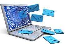 Computer portatile con i email Fotografia Stock Libera da Diritti