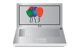 Computer portatile con i palloni Immagini Stock