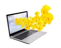 Computer portatile con i simboli del dollaro Fotografie Stock Libere da Diritti