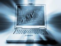 Computer portatile con il diagramma Fotografia Stock