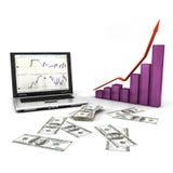 Computer portatile con il dollaro ed il grafico Fotografie Stock
