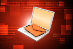 Computer portatile con il email Fotografia Stock