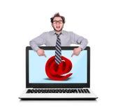 Computer portatile con il email Fotografie Stock Libere da Diritti