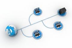 Computer portatile con il grandi server e globo Royalty Illustrazione gratis