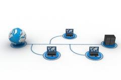 Computer portatile con il grandi server e globo Illustrazione di Stock