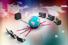 Computer portatile con il grandi server e globo immagine 3d Fotografia Stock Libera da Diritti