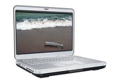 Computer portatile con il messaggio Fotografia Stock