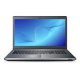 Computer portatile con il modello degli estratti sullo schermo Fotografie Stock Libere da Diritti