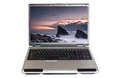 Computer portatile con il paesaggio Immagini Stock