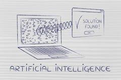 Computer portatile con il pop-up della soluzione con la molla, intelligenza artificiale Fotografia Stock