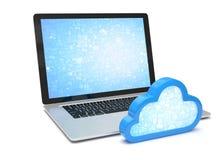 Computer portatile con il simbolo di calcolo della nuvola Fotografie Stock Libere da Diritti