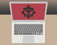 Computer portatile con il virus dentro Fotografia Stock Libera da Diritti
