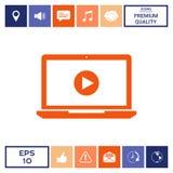 Computer portatile con l'icona del tasto di riproduzione Fotografie Stock Libere da Diritti