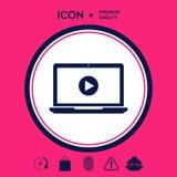 Computer portatile con l'icona del tasto di riproduzione Immagini Stock Libere da Diritti