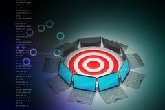 Computer portatile con l'icona dell'obiettivo Immagini Stock