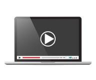 Computer portatile con l'illustrazione di vettore del lettore multimediale Fotografie Stock Libere da Diritti