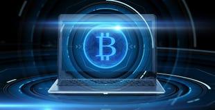 Computer portatile con l'ologramma del bitcoin Immagini Stock