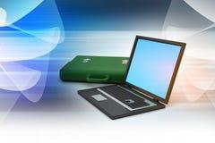 Computer portatile con la borsa Fotografia Stock Libera da Diritti