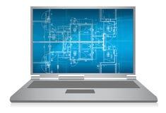 Computer portatile con la cianografia architettonica astratta Immagine Stock