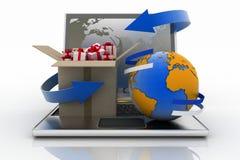 Computer portatile con la freccia e carrello con un globo Fotografia Stock