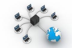 Computer portatile con la grande parete refrattaria del lavoro della rete del server Royalty Illustrazione gratis