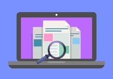 Computer portatile con la lente d'ingrandimento sullo schermo Ricerca di web, concetti di ricerca di Internet Illustrazione piana illustrazione di stock