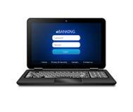 Computer portatile con la pagina di connessione della banca isolata sopra bianco Fotografia Stock