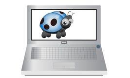 Computer portatile con Ladybird blu Immagine Stock Libera da Diritti