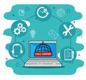 Computer portatile con le icone, centro di servizio di sostegno mondiale royalty illustrazione gratis