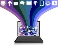 Computer portatile con le icone di media Fotografie Stock Libere da Diritti