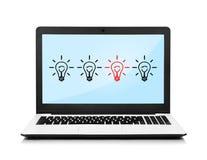 Computer portatile con le lampade Fotografia Stock Libera da Diritti