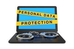 Computer portatile con le manette ed il segno personale del nastro di protezione dei dati rappresentazione 3d illustrazione vettoriale
