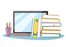 Computer portatile con le matite, una pila di libri e una decorazione delle foglie di autunno nello stile del piano Illustrazione illustrazione vettoriale