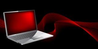 Computer portatile con le onde Immagini Stock Libere da Diritti