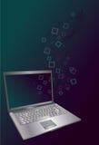 Computer portatile con le righe di scorrimento e le figure del quadrato Fotografie Stock Libere da Diritti