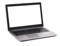 Computer portatile con lo schermo in bianco bianco Fotografia Stock Libera da Diritti
