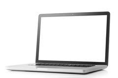 Computer portatile con lo schermo in bianco isolato su bianco Fotografia Stock Libera da Diritti