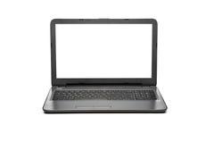Computer portatile con lo schermo in bianco isolato su fondo bianco, alluminio bianco fotografia stock libera da diritti
