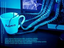 Computer portatile con lo schermo rotto infettato dal malware fotografia stock libera da diritti