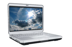 Computer portatile con lustro di Sun Immagini Stock Libere da Diritti